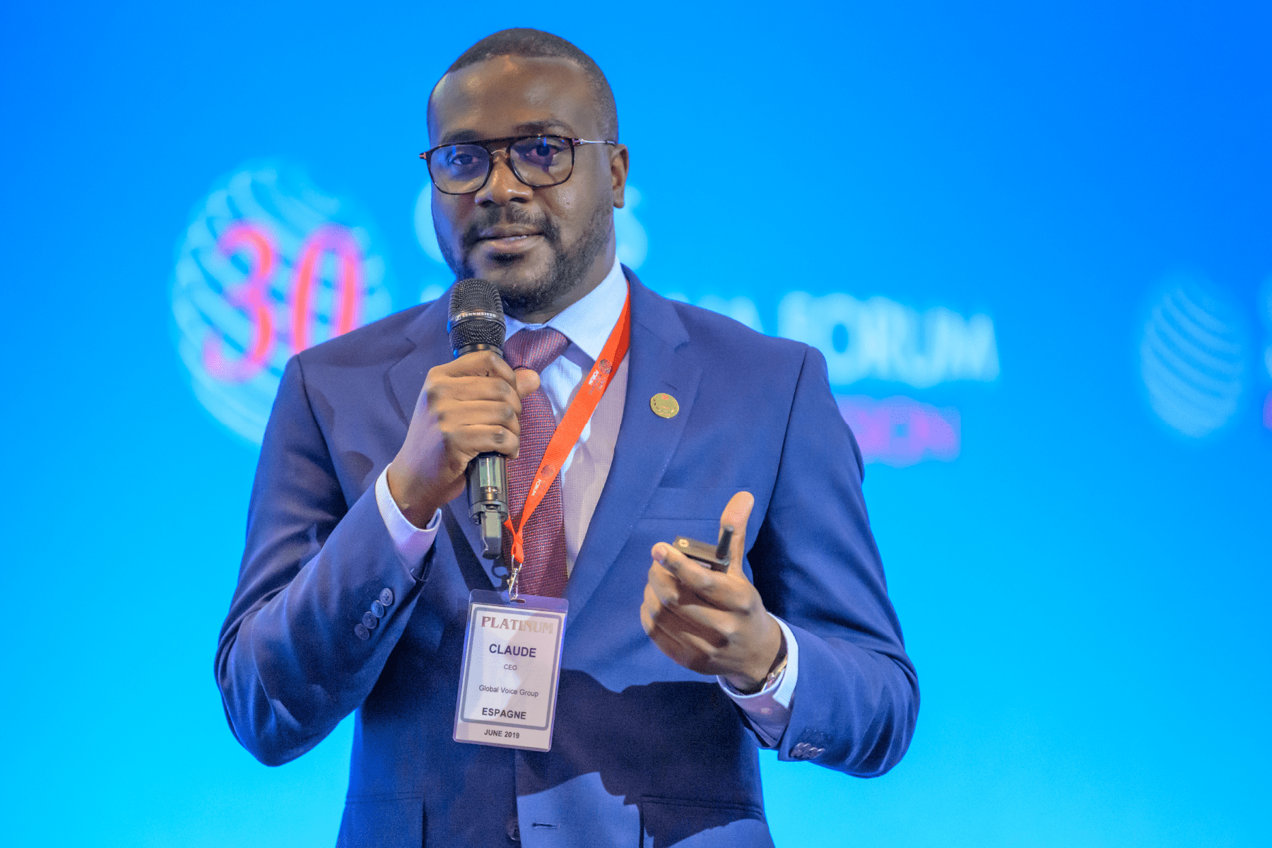 James Claude Speaking As A Panelist At The Crans Montana Forum 2019